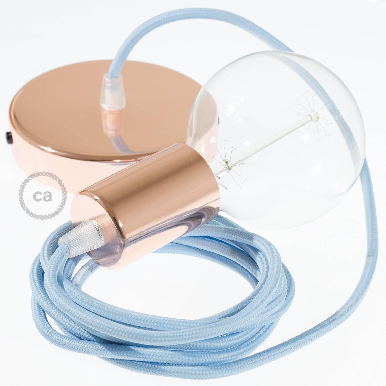 Pendel singolo, lampada sospensione cavo tessile Effetto Seta Azzurro Baby RM17