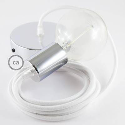 Pendel singolo, lampada sospensione cavo tessile Cotone Bianco RC01