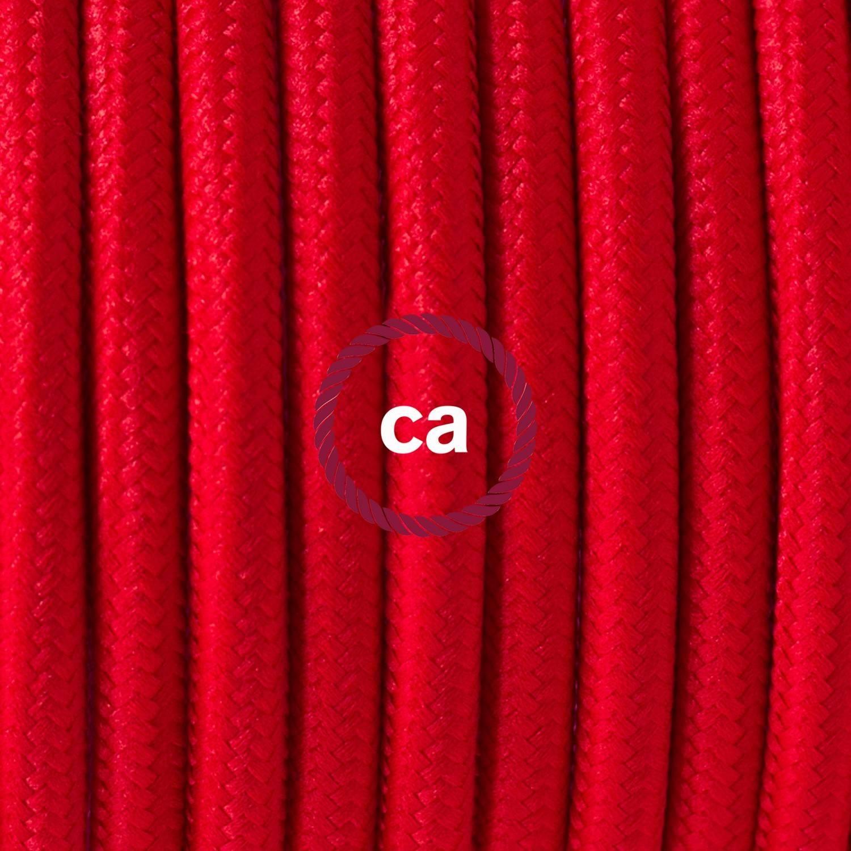 Pendel singolo, lampada sospensione cavo tessile Effetto Seta Rosso RM09