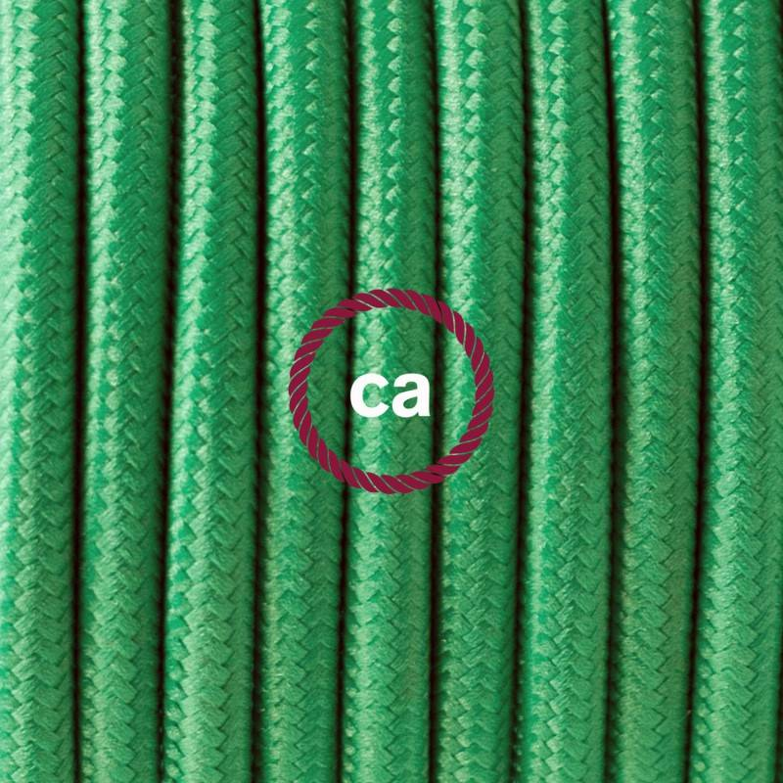 Pendel singolo, lampada sospensione cavo tessile Effetto Seta Verde RM06