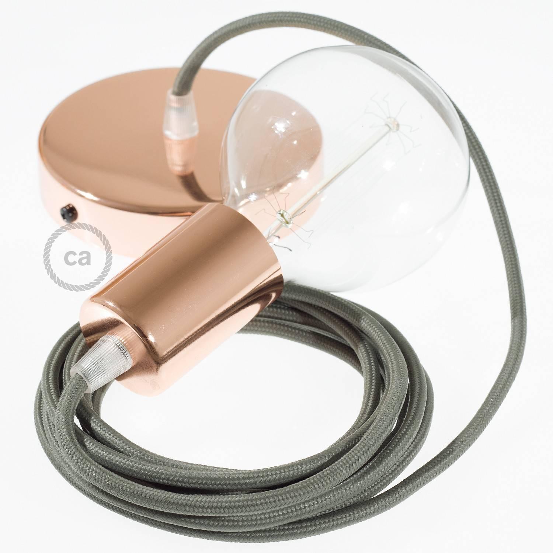 Pendel singolo, lampada sospensione cavo tessile Effetto Seta Grigio RM03