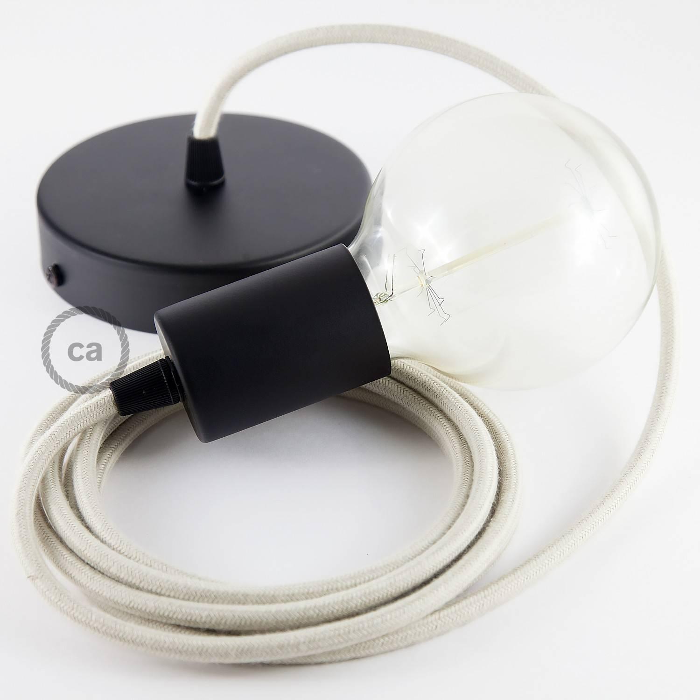 Pendel singolo, lampada sospensione cavo tessile Cotone Tortora RC43