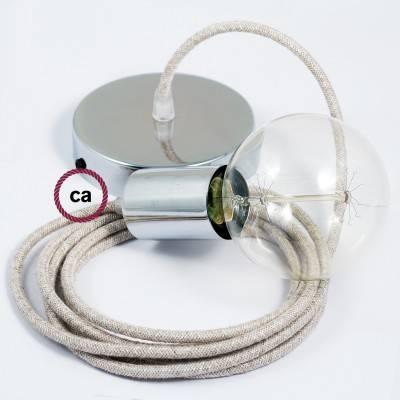 Pendel singolo, lampada sospensione cavo tessile Lino Naturale Neutro RN01
