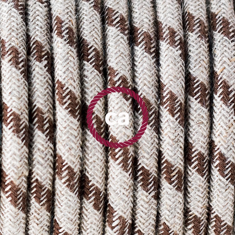 Pendel singolo, lampada sospensione cavo tessile Stripes Corteccia RD53