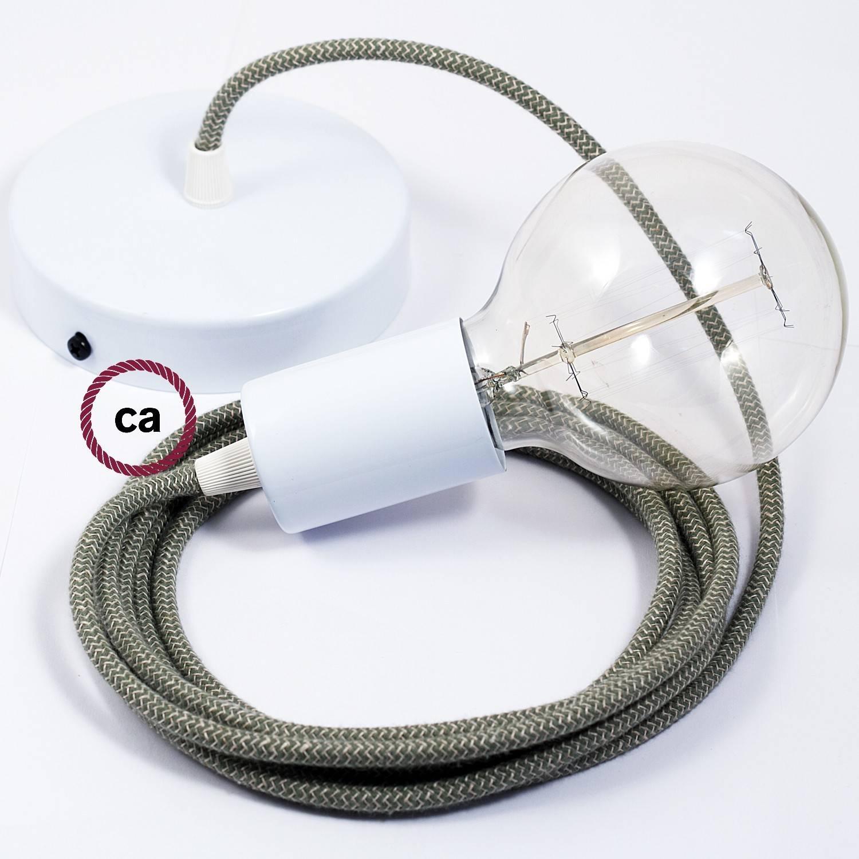 Pendel singolo, lampada sospensione cavo tessile ZigZag Verde Timo RD72