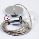 Pendel singolo, lampada sospensione cavo tessile Losanga Verde Timo RD62