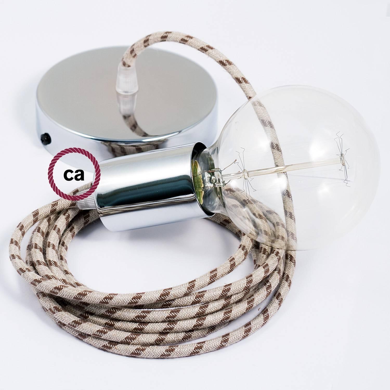 Pendel singolo, lampada sospensione cavo tessile Stripes Antracite RD54