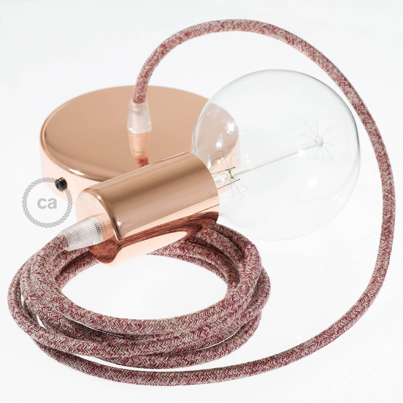 Pendel singolo, lampada sospensione cavo tessile Lino Naturale Glitterato Rosso RS83