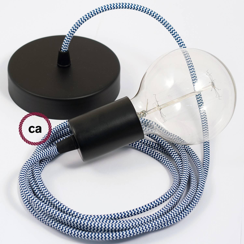 Pendel singolo, lampada sospensione cavo tessile ZigZag Blu RZ12