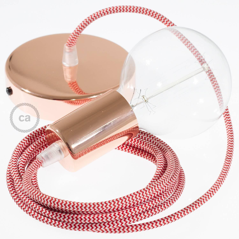 Pendel singolo, lampada sospensione cavo tessile ZigZag Rosso RZ09