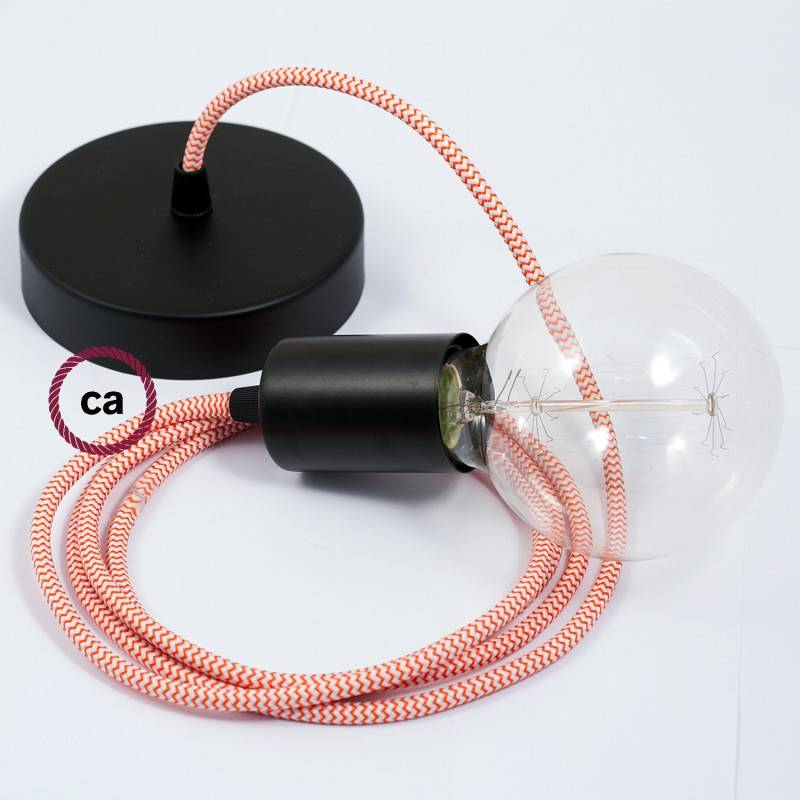 Pendel singolo, lampada sospensione cavo tessile ZigZag Arancione RZ15
