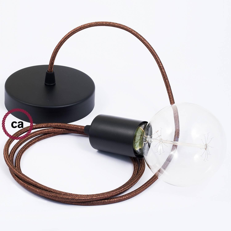 Pendel singolo, lampada sospensione cavo tessile Glitterato Marrone RL13