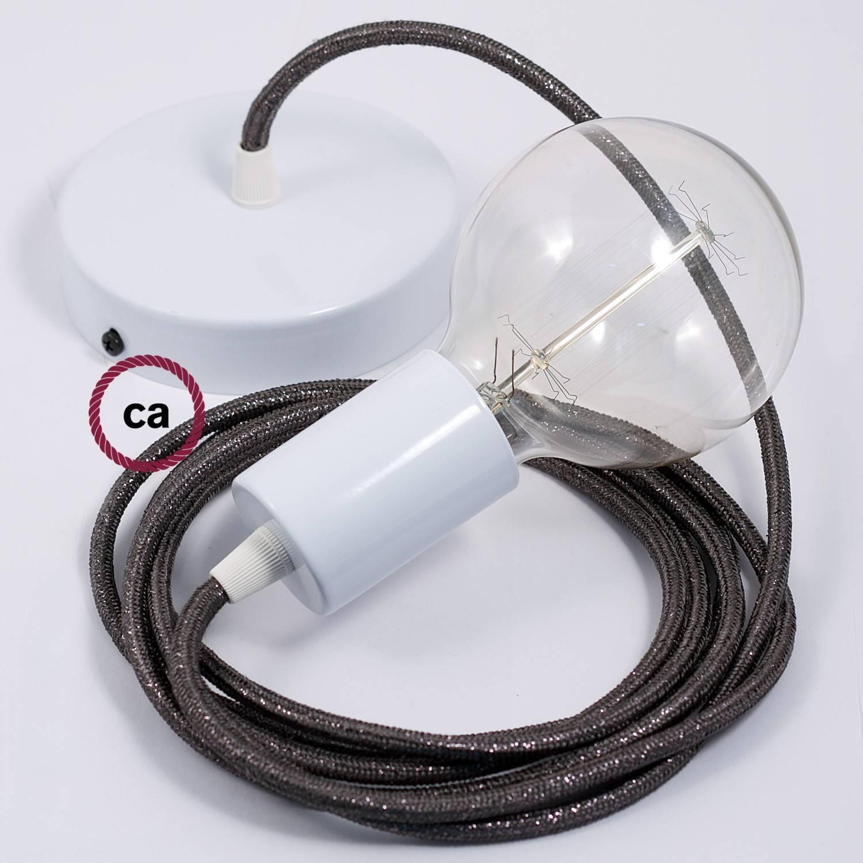 Pendel singolo, lampada sospensione cavo tessile Glitterato Grigio RL03