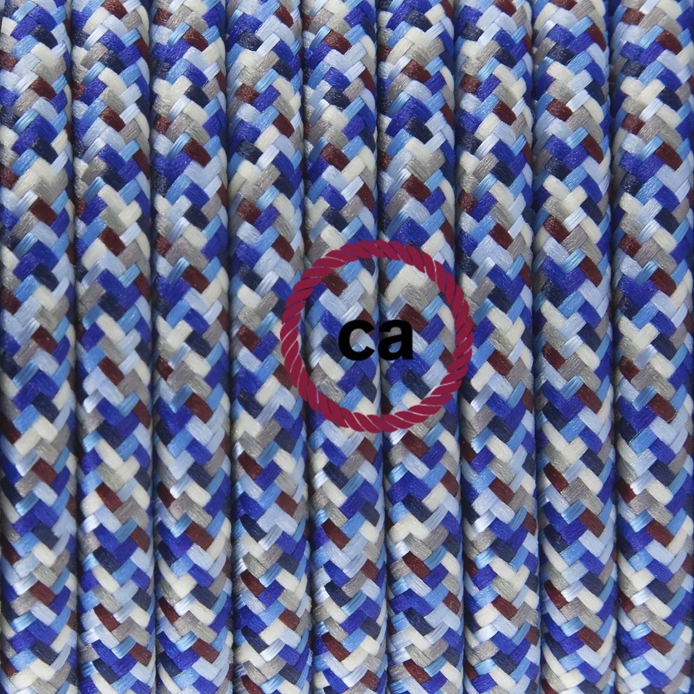 Pendel singolo, lampada sospensione cavo tessile Pixel Turchese RX03