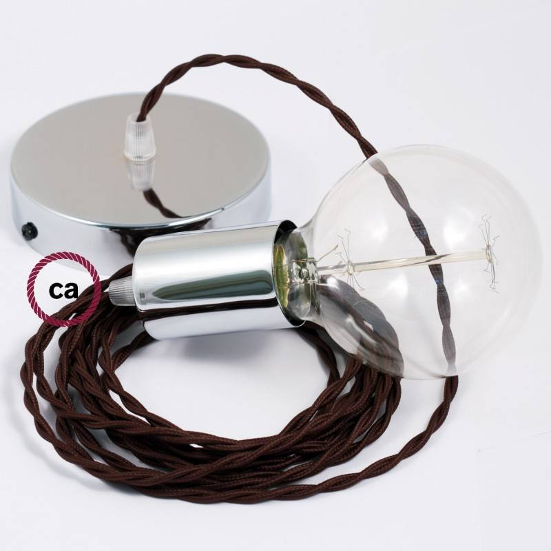 Pendel singolo, lampada sospensione cavo tessile Effetto Seta Marrone TM13