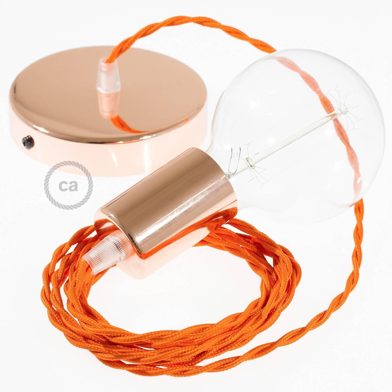 Pendel singolo, lampada sospensione cavo tessile Effetto Seta Arancione TM15