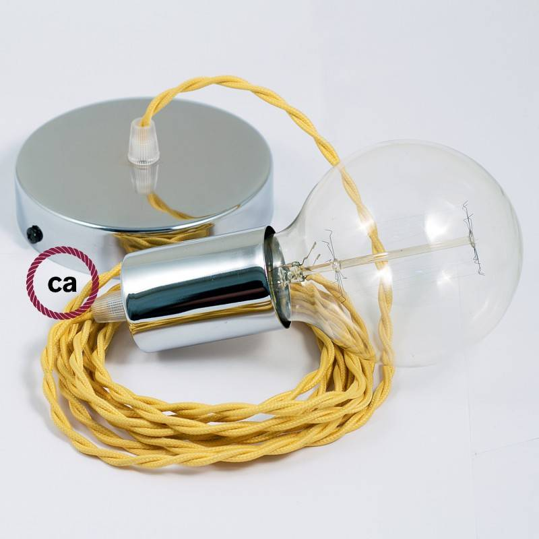 Pendel singolo, lampada sospensione cavo tessile Effetto Seta Giallo TM10