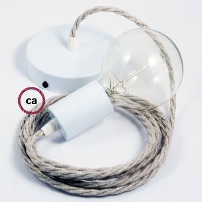 Pendel singolo, lampada sospensione cavo tessile Lino Naturale Neutro TN01