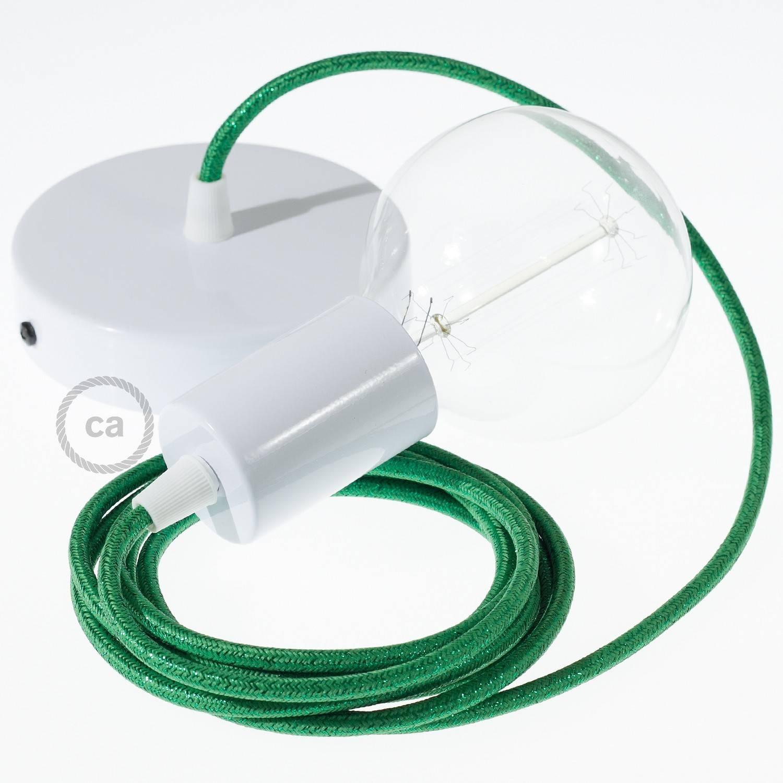 Pendel singolo, lampada sospensione cavo tessile Glitterato Verde RL06