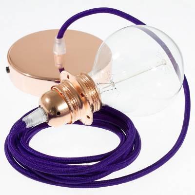Pendel per paralume, lampada sopensione cavo tessile Effetto Seta Viola RM14