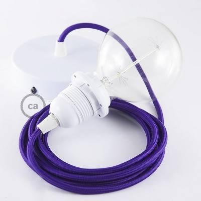 Pendel per paralume, lampada sospensione cavo tessile Effetto Seta Viola RM14