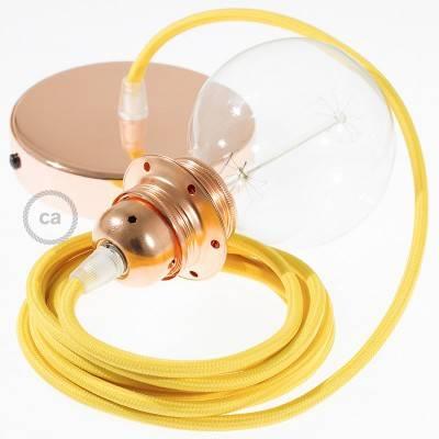 Pendel per paralume, lampada sopensione cavo tessile Effetto Seta Giallo RM10