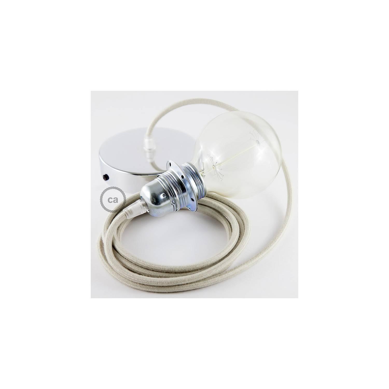 Pendel per paralume, lampada sospensione cavo tessile Cotone Tortora RC43