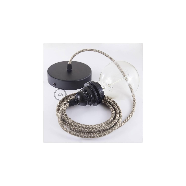 Pendel per paralume, lampada sospensione cavo tessile ZigZag Corteccia RD73