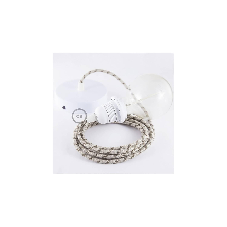 Pendel per paralume, lampada sospensione cavo tessile Stripes Corteccia RD53