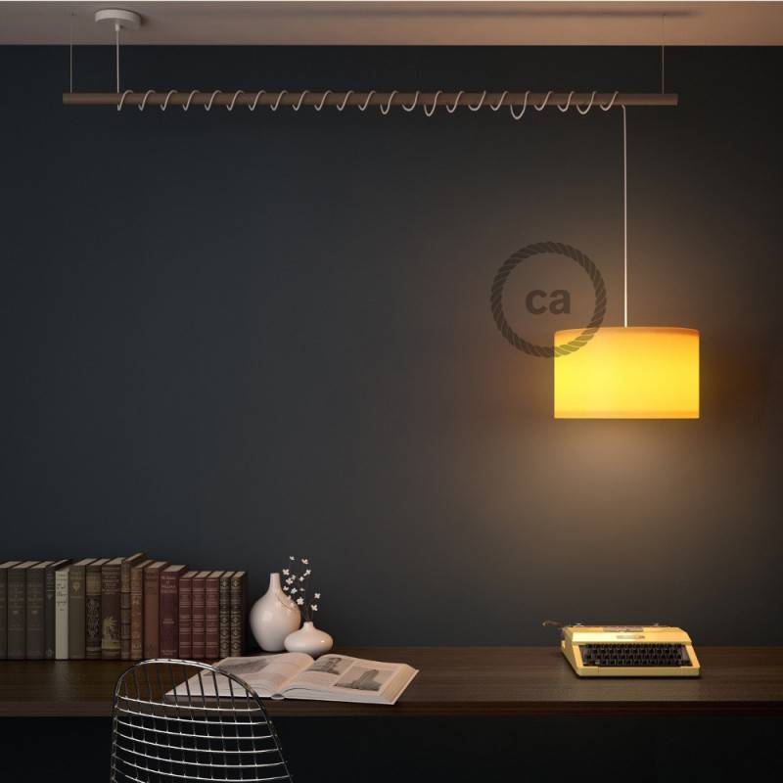 Pendel per paralume, lampada sospensione cavo tessile Lino Naturale Glitterato Nero RS81