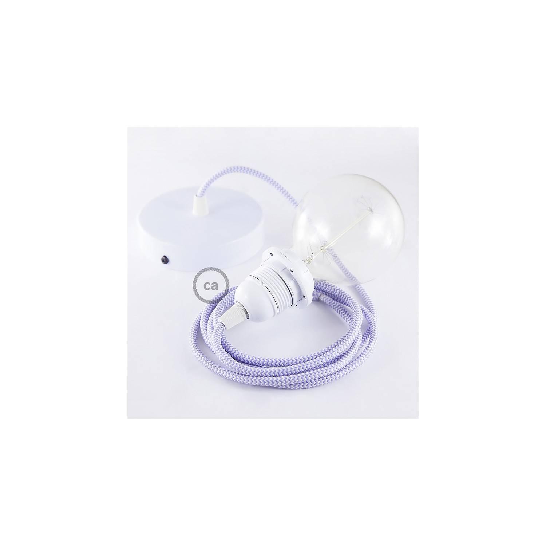 Pendel per paralume, lampada sospensione cavo tessile ZigZag Lilla RZ07