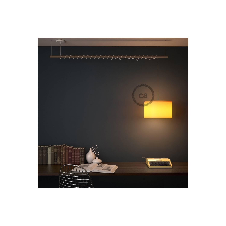 Pendel per paralume, lampada sospensione cavo tessile Bicolore Nero RP04