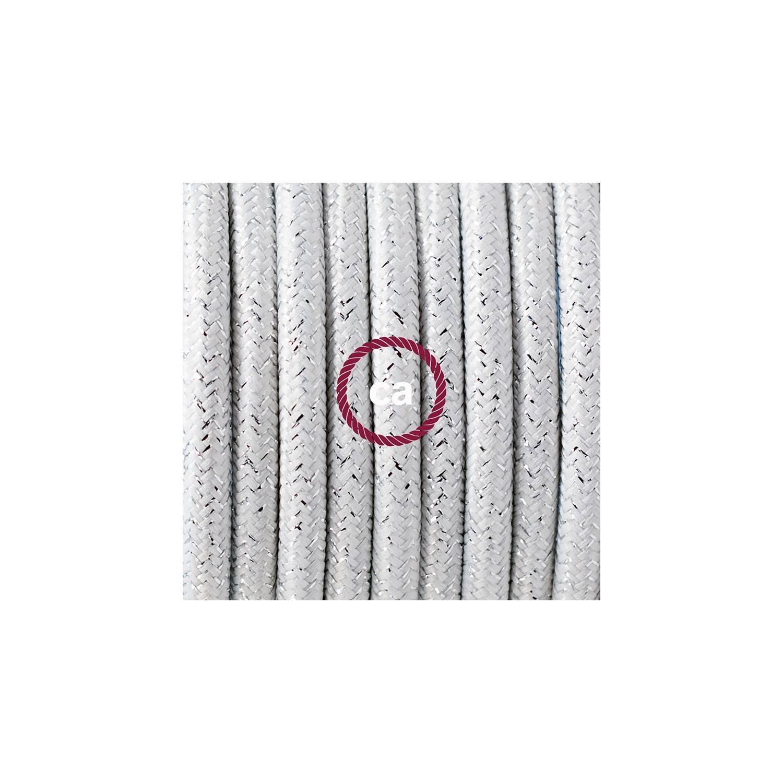 Pendel per paralume, lampada sospensione cavo tessile Glitterato Bianco RL01