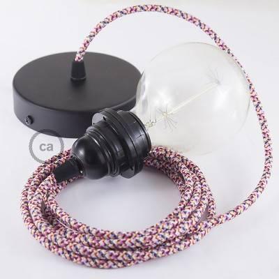 Pendel per paralume, lampada sospensione cavo tessile Pixel Fucsia RX00