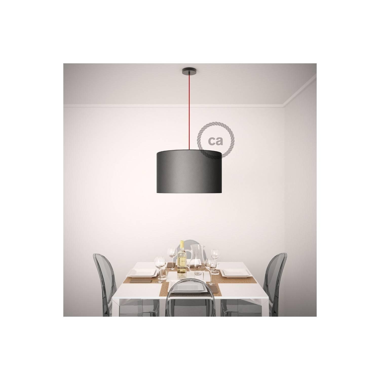 Pendel per paralume, lampada sospensione cavo tessile Effetto Seta Nero TM04
