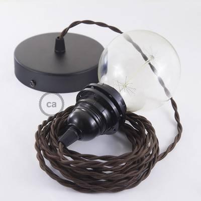 Pendel per paralume, lampada sospensione cavo tessile Effetto Seta Marrone TM13