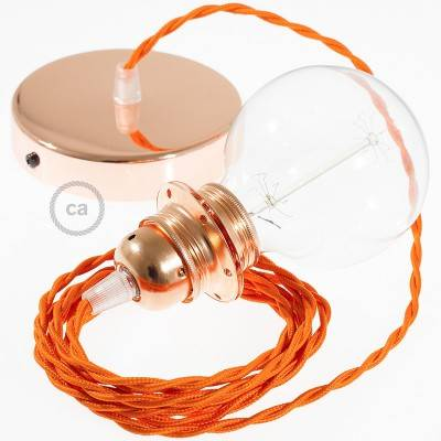 Pendel per paralume, lampada sospensione cavo tessile Effetto Seta Arancione TM15