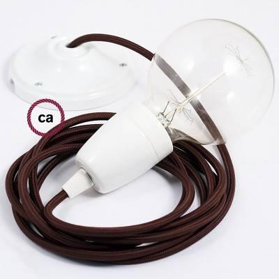 Pendel in porcellana, lampada sospensione cavo tessile Effetto Seta Marrone RM13