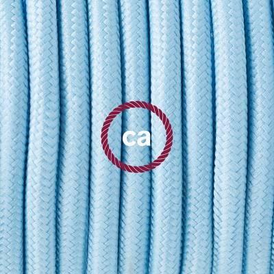Pendel in porcellana, lampada sospensione cavo tessile Effetto Seta Azzurro Baby RM17