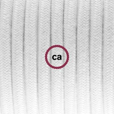 Pendel in porcellana, lampada sospensione cavo tessile Cotone Bianco RC01