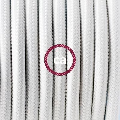 Pendel in porcellana, lampada sospensione cavo tessile Effetto Seta Bianco RM01