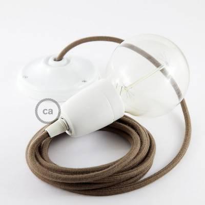 Pendel in porcellana, lampada sospensione cavo tessile Cotone Marrone RC13