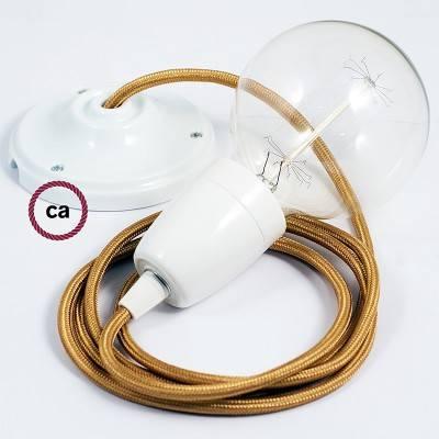 Pendel in porcellana, lampada sospensione cavo tessile Effetto Seta Oro RM05