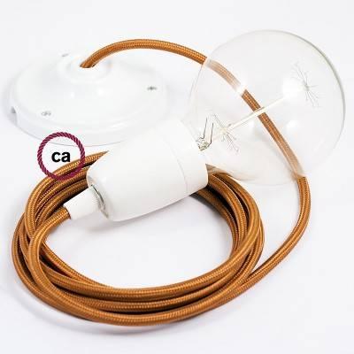 Pendel in porcellana, lampada sospensione cavo tessile Effetto Seta Whiskey RM22