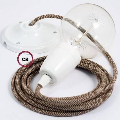 Pendel in porcellana, lampada sospensione cavo tessile ZigZag Corteccia RD73