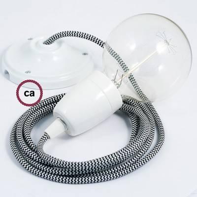 Pendel in porcellana, lampada sospensione cavo tessile ZigZag Nero RZ04