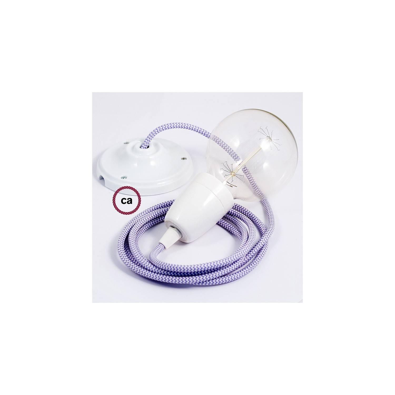 Pendel in porcellana, lampada sospensione cavo tessile ZigZag Lilla RZ07