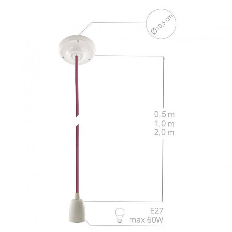 Pendel in porcellana, lampada sospensione cavo tessile Giallo Fluo RF10