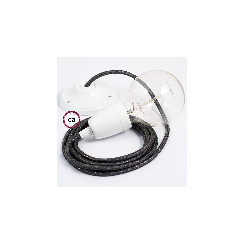 Pendel in porcellana, lampada sospensione cavo tessile Glitterato Grigio RL03
