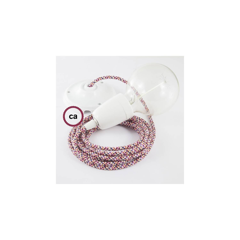 Pendel in porcellana, lampada sospensione cavo tessile Pixel Fucsia RX00